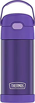 THERMOS FUNTAINER 12 Ounce Stainless Steel Vacuum Insulated Kids Straw Bottle Violet