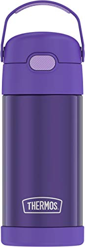 THERMOS FUNTAINER 12 Ounce Stainless Steel Vacuum Insulated Kids Straw Bottle, Violet