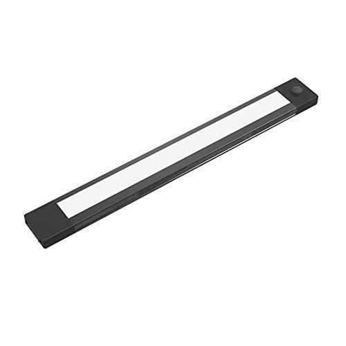 Luz LED para debajo del mostrador, luz de gabinete con sensor de movimiento inalámbrico recargable por USB, lámpara de cocina portátil para armario / escaleras / armario / dormitorio, luz negra, blanc