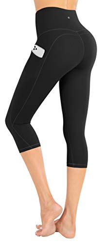 LifeSky Capri Yoga Pants with Pockets, High Waisted Tummy Control Leggings 4 Way Stretch Workout Pants, M