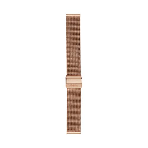 Fossil Women's 18mm Mesh Interchangeable Watch Band Strap, Color: Rose Gold (Model: S181375)