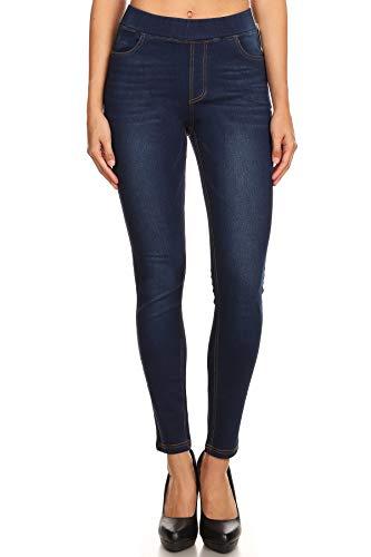 Women's High Waist Stretchy Pull-On Skinny Denim Jeans (Small, Dark Blue)