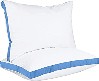 Utopia Bedding Gusseted Pillow  2-Pack  Premium Quality Bed Pillows - Side Back Sleepers - Blue Gusset - Queen - 18 x 26 Inches