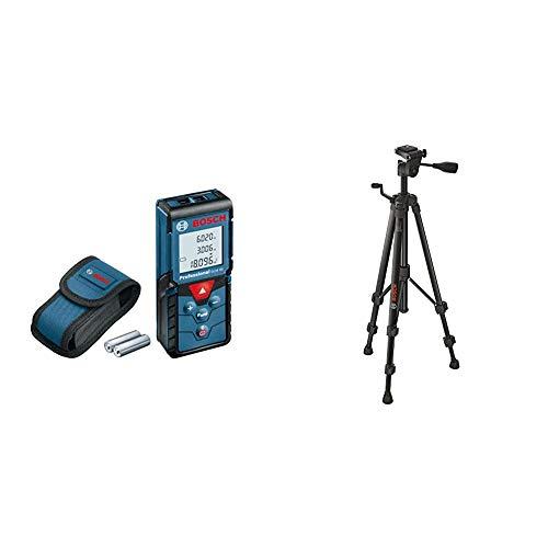 Bosch Professional Laser Entfernungsmesser GLM 40 (Flächen-/Volumenberechnung, max. Messbereich: 40m, 2x 1,5-V Batterien, Schutztasche) & Baustativ BT 150 (55-157 cm, 1,5 kg, Stativ-Gewinde 1/4 Zoll)