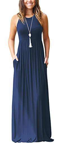 GRECERELLE Women's Sleeveless Long Floor Length Maxi Slim Beach Dresses Navy Blue X-Small