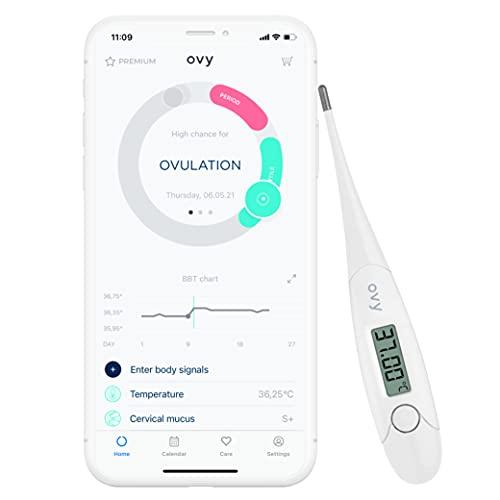 Ovy® Basalthermometer zur Zykluskontrolle I Eisprung-Messgerät zur Berechnung fruchtbarer Tage bei Kinderwunsch (NFP) I hormonfreie Empfängnisregelung I App mit Datenspeicherung auf deutschem Server