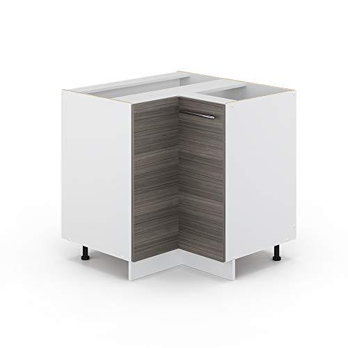 Vicco Küchenschrank Hängeschrank Unterschrank Küchenzeile Hochglanz Fame-Line (Edelgrau, Eckunterschrank 87 cm)