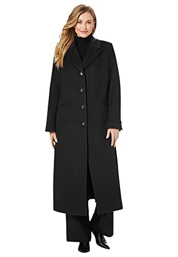 Jessica London Women's Plus Size Full Length Wool Blend Coat - 22, Black