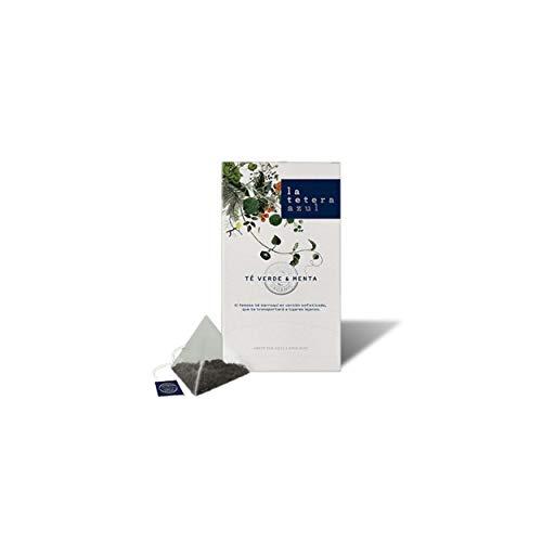 LA TETERA AZUL Bio-Grüntee und Minze. Organische Infusion in Pyramiden. Tee im maurischen arabischen und marokkanischen Stil. Grüner Tee & Minze. 20 Pyramiden.