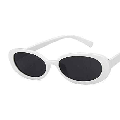 NJJX Sombra De Montura Pequeña Ovalada De Moda Para Mujer, Anteojos Con Personalidad De Color De Vaca Vintage, Sin Gafas De Sol Blancas, Blanco