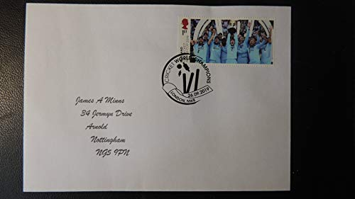 GB Postmark Cricket England World Cup Winners 26 SEP 2019 London NW8#1 SPORT wicket bails cricket cover Typed Address JandRStamps