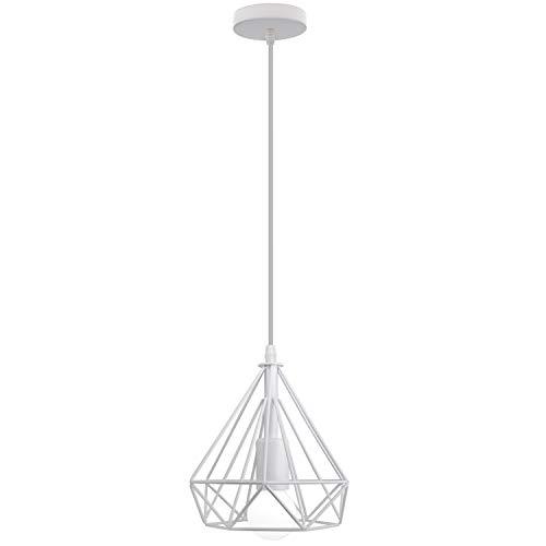 iDEGU - Lampadario a sospensione industriale, 200 mm, stile vintage E27, lampadario da soffitto, paralume in metallo, design a gabbia di diamante, illuminazione decorativa (bianco)