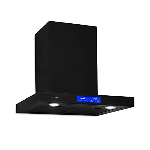 Klarstein Sabrina - extractor de humos, campana extractora de pared, clase A, extracción y ventilación, 575 m³/h, 3 intensidades, pantalla LCD, filtro de grasa, panel táctil, 60 cm, negro