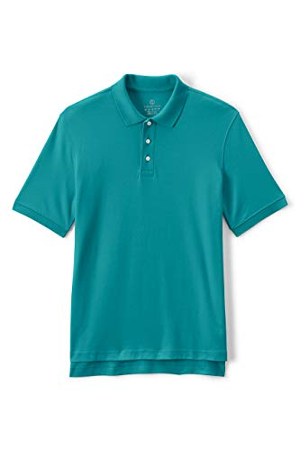 Lands' End School Uniform Men's Short Sleeve Interlock Polo Shirt X-Large Teal Breeze