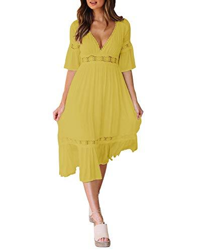 Style Dome Damen Schulterkleid Langarm Boho Kleid Blumenmuster Strandkleid Sommerkleider Lang Maxikleid 5 Gelb 2XL