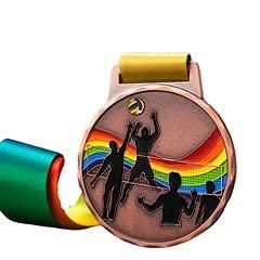 Watermzk Medallas de bronce profesionales personalizadas, para ganador de voleibol, grabado logotipo personalizado, 3er premios, 2.75 pulgadas de ancho medallones, con cinta de cuello, (voleibol)..