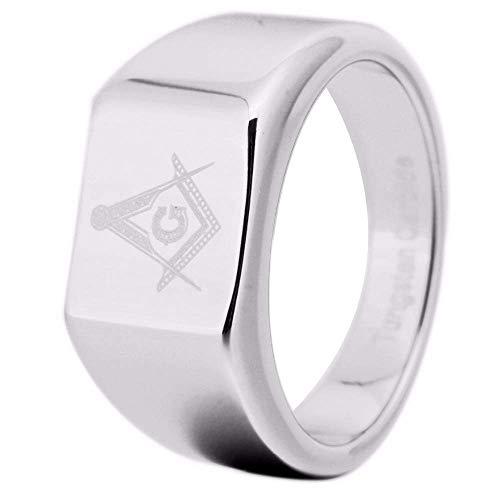 Bansriracha 12MM Width Silver Tungsten Carbide Masonic Master with Freemason Design Ring for Man and Woman's Wedding (11)
