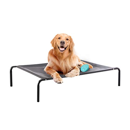 Western Home Outdoor Elevated Dog Bed, 49in Raised Dog Cot Bed for Extra Large Dogs, Portable Cooling Pet Cot for Indoor and Outdoor with Breathable Mesh, Durable Frame and Skid-Resistant Feet, Grey