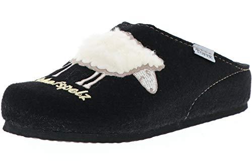 TOFEE Damen Hausschuhe (Schafspelz) schwarz, Größe:37, Farbe:Schwarz
