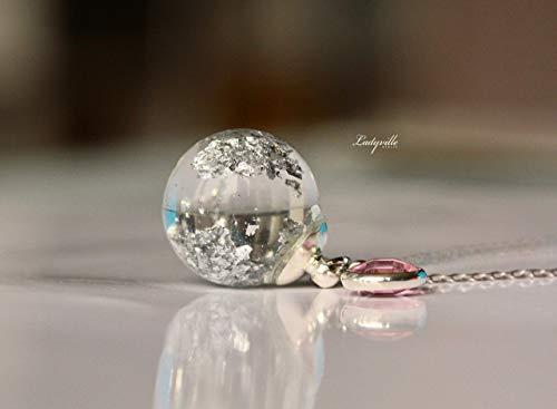Silber Wasser Kette mit persönlichen Geburtsstein im Glasball mit Blattsilber/Aquarium Kette/Geburtstagsstein Kette/Geschenk Geburtstag