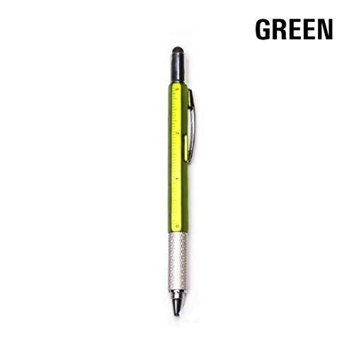 Minni Lindo bolígrafo 6 en 1 multiherramientas creativo multifunción punta de bolígrafo nivel pinza destornillador multifunción capacitancia bolígrafo verde