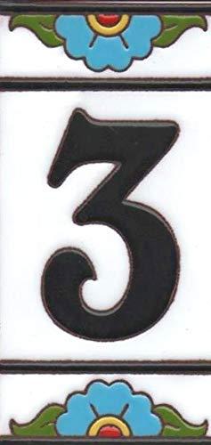 Hausnummern aus Keramik, für Türnummern und Rahmen, spanisches Miami, 3 Stück