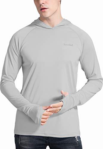 Spowind Men's UPF 50+ Sun Protection Hoodie Shirts Long Sleeve SPF Performance Fishing T-Shirt with Thumbhole Grey