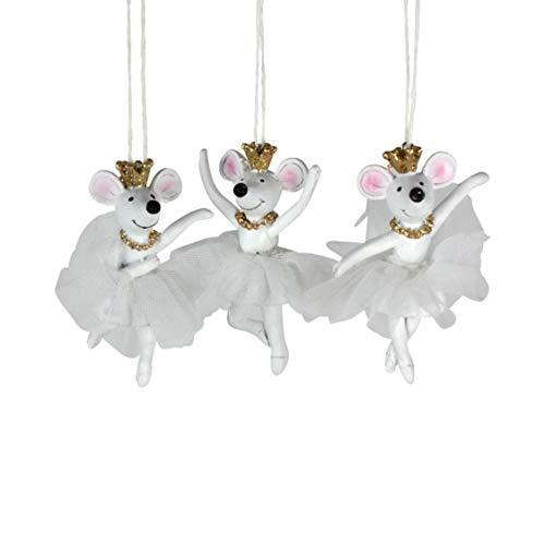 Voss Ballerina-muis, 3-voudig gesorteerd, wit, poly, 5,5 x 3,5 x 9,5 cm
