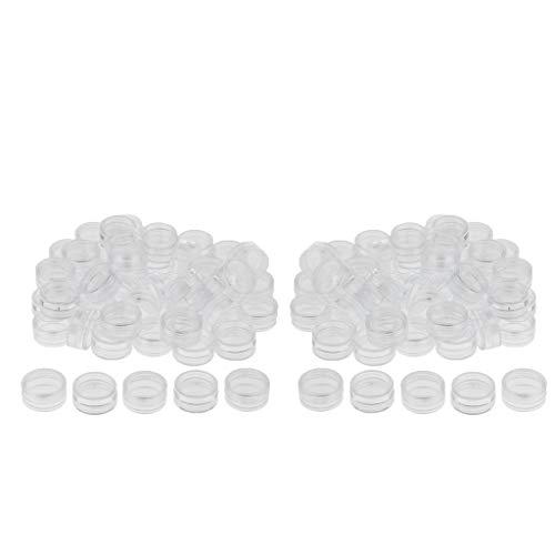 SDENSHI 100Pcs Pot Rond de Récipient à échantillon Cosmétique de Pot de 3 Grammes Rose pour Le Maquillage Des Ongles