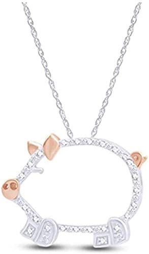 DUEJJH Co.,ltd Colgante de Cerdo en Dos Tonos con Diamante Natural de Talla Redonda en Plata