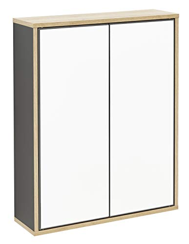 FACKELMANN Spiegelschrank Finn/Badschrank mit Push-to-Open/Maße (B x H x T): ca. 60 x 75 x 20,5 cm/Schrank fürs Bad mit 2 Türen/Korpus: Schwarz/Front: Spiegel/Rahmendekor: Braun hell