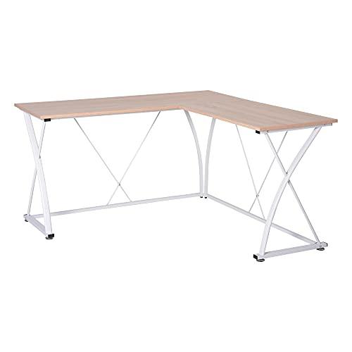 Vinsetto L-Shaped Computer Desk Corner PC Table Modern Writing Workstation for Home Office, 1.4m, Oak beige/White