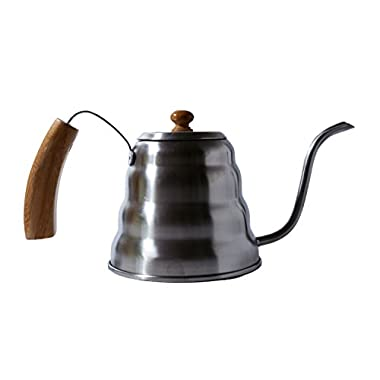 Heiwa Pouring Kettle w/Wooden Handle, 1.2 litre - Barista or Homebrew for The Perfect Pour Over Coffee with gooseneck spout (Beechwood lid and wooden handle)
