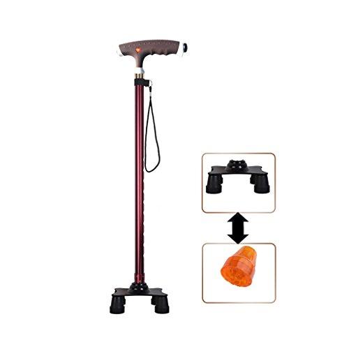 XUEPING stok aluminium krukken van oudere wandelaars verstelbare basis T-greep verlichte wandelstok 10-voudige uitbreiding één voet, vier poten vervanging 75-97 cm lang rode wijn oude leveringen