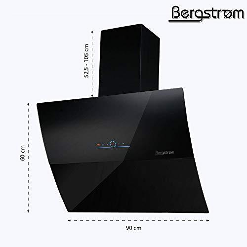 """Bergström Dunstabzugshaube""""Black Elegance"""" Glas LED Wandhaube kopffrei Schräghaube - 6"""