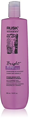 RUSK Sensories Bright Chamomile and Lavender Brightening Shampoo, 13.5 Oz, Color-Enhancing Shampoo Improves Color and Tone of Lifeless, Dull Silver, Gray or White Hair