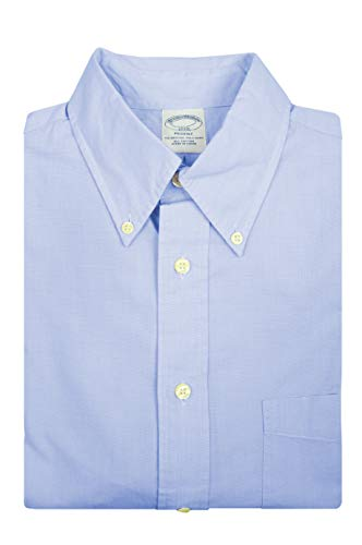 Brooks Brothers Mens Regent Fit Textured Knit All Cotton The Original Polo Button Down Shirt (M, Light Blue (11663))