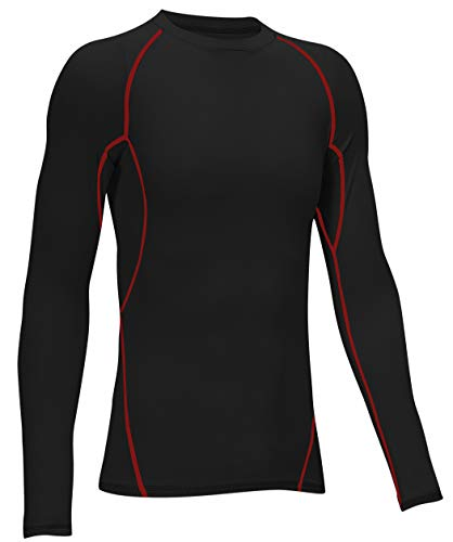 TELALEO Boys' Girls' Compression Shirts Youth Long Sleeve Undershirt Sports Dri Fit Moisture Wicking Baselayer Black Red-Line XL