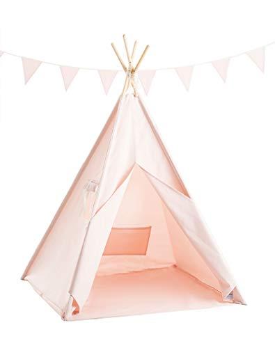 Cozydots - Tipi Zelt für Kinder, Kinderzelt - Wasserdicht Set Indianerzelt für Kinder Outdoor und Indoor - Mädchen - Rosa