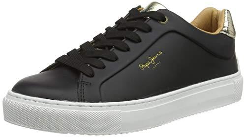 Pepe Jeans London Damen Adams Premium 19 Sneaker, Schwarz (Black 999), 40 EU