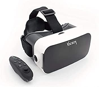 VECOZA Virtual Reality Headset ,3D VR Glasses for Mobile Games and Video & Movies,with Bluetooth Remote Controller,Compatible 3.5-6 inch iPhone/Android Phone,Including iPhone,Samsung LC etc  White