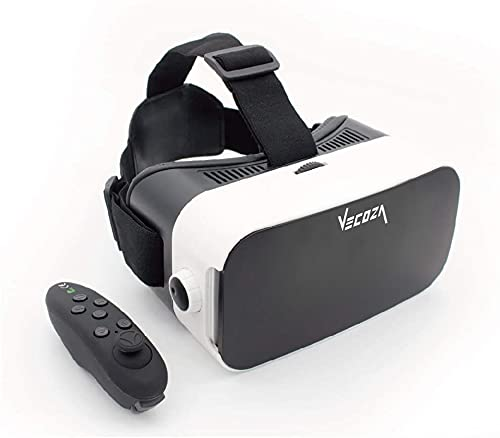 VECOZA, Virtual Reality Headset ,3D VR Glasses for Mobile Games and Video & Movies,with Bluetooth Remote Controller,Compatible 3.5-6 inch iPhone/Android Phone,Including iPhone,Samsung, LC etc (White)