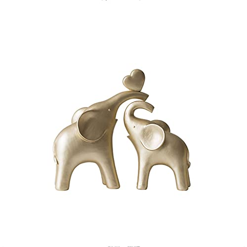 kerryshop Escritorio de Adornos Amantes del Elefante Sala de Estar TV Cabinete Escritorio Decoración de joyería Creativa Decoración de Elefantes de Oro Artesanía Decoración de Escritorio