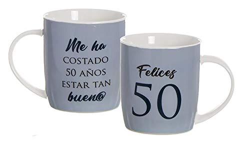 Hogar y Mas Taza de Porcelana de cumpleaños de 50 años con Frase, Color azúl y Blanca. Diseño Original y Moderno. Regalo Original 8.3 x 8.3 x 10cm 350ml. (azúl)