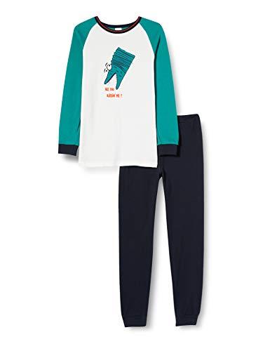 Schiesser Jungen Kn Schlafanzug lang Pyjamaset, grün, 104