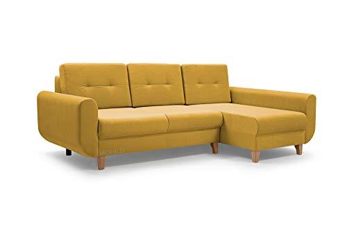 MOEBLO Ecksofa mit Schlaffunktion Eckcouch mit 2 X Bettkasten Sofa Couch L-Form Polsterecke - BONN (Ecksofa Rechts, Gelb)