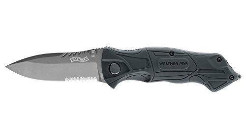 Walther Messer Pro Black Tac Spearpoint-klinge, Liner-lock, Schwarz, One Size