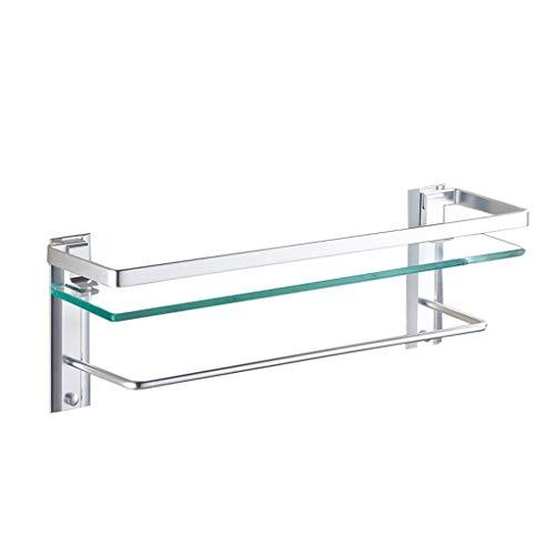 WZNING Estante de baño con barra y toallero montado en la pared, vidrio templado de 8 mm y aluminio espacial (tamaño: 50 cm)