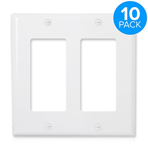 Maxxima 2 Gang Decorative Outlet Wall Plate, White, Standard Size (Pack of 10)
