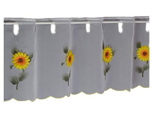 Hossner Scheibengardine Sonnenblume Bistrogardine Kurzstore Cafehausgardine Voile Landhaus Look Shabby 30/200 cm weiß-gelb